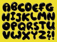 Alfabeto negro de la burbuja Foto de archivo