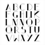 Alfabeto negro simple en el fondo blanco Foto de archivo