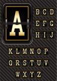 Alfabeto nel retro stile sul fondo del carbonio Fotografia Stock