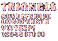 Alfabeto nella progettazione pastello di struttura del triangolo, nelle lettere maiuscole, nei numeri, nella domanda e nel punto  Immagine Stock