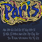 Alfabeto nello stile dell'artista Vincent van Gogh Immagine Stock