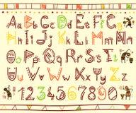 Alfabeto nello stile etnico africano Fotografie Stock