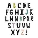 Alfabeto nello stile scandinavo Lettere disegnate a mano, ABC alla moda illustrazione vettoriale