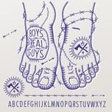 Alfabeto no estilo das tatuagens criminosas Foto de Stock Royalty Free