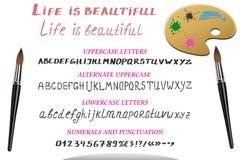 Alfabeto, numeri e punteggiatura dell'acquerello di vettore Fotografia Stock