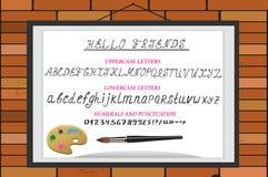 Alfabeto, numeri e punteggiatura dell'acquerello di vettore Fotografie Stock