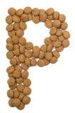 Alfabeto P de la tuerca del jengibre Imagen de archivo libre de regalías