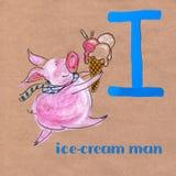 Alfabeto para crianças com profissão do porco Letra mim Homem do gelado ilustração royalty free