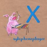 Alfabeto para crianças com profissão do porco Letra X Xylophoneplayer ilustração stock