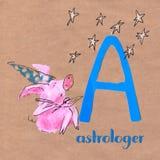 Alfabeto para crianças com profissão do porco Rotule A astrologer ilustração royalty free