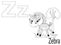 Alfabeto para miúdos, Z da coloração Foto de Stock Royalty Free