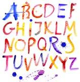 Alfabeto pintado de la acuarela. Fotos de archivo