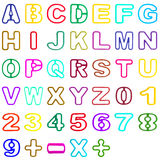 Alfabeto plástico y número huecos de la colección aislados en blanco Foto de archivo