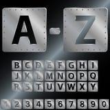 Alfabeto Placas de metal con los remaches Fotografía de archivo