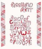 Alfabeto a pulso a mano del negro, rojo y blanco de las mayúsculas, elegante, simple, geométrico, adornado con las rayas Three-di Imagen de archivo libre de regalías