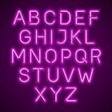 Alfabeto que brilla intensamente rosado de la luz de neón ilustración del vector