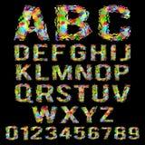 Alfabeto quebrado poligonal geométrico colorido Fotografia de Stock