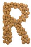 Alfabeto R de la tuerca del jengibre Fotografía de archivo
