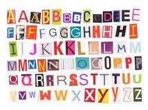 Alfabeto - recortes del compartimiento Foto de archivo libre de regalías