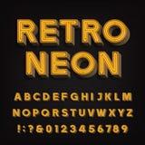 Alfabeto retro de la muestra letras y números de neón del vintage 3D Fuente del letrero stock de ilustración