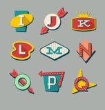 Alfabeto retro de las muestras Letras en muestras del estilo del vintage Fotografía de archivo