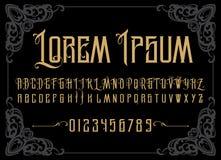Alfabeto retro do vetor Fonte do vintage Tipografia para as etiquetas, os título, os cartazes etc. Imagens de Stock Royalty Free