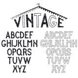alfabeto retro para etiquetas ilustração do vetor