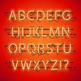 Alfabeto rojo de neón que brilla intensamente Fotos de archivo libres de regalías
