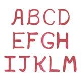 Alfabeto rojo del vector de la acuarela Imagen de archivo