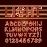 Alfabeto rojo y números de la luz de neón Fotografía de archivo