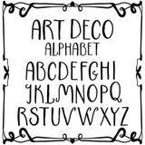 Alfabeto romano escrito à mão do art deco Fotos de Stock Royalty Free