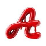 Alfabeto rosso colante isolato su fondo bianco Lettera corsiva scritta a mano A illustrazione di stock
