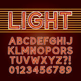 Alfabeto rosso e numeri della luce al neon Fotografia Stock