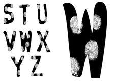 Alfabeto S - Z complete dell'impronta digitale (imposti 3 di 3) Fotografie Stock