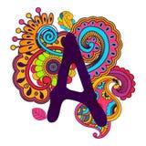 Alfabeto scarabocchiante disegnato a mano Immagine Stock