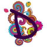 Alfabeto scarabocchiante disegnato a mano Immagini Stock