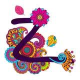 Alfabeto scarabocchiante disegnato a mano Fotografia Stock