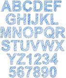 Alfabeto schizzato e covato semplice Fotografia Stock