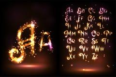 Alfabeto scintillante luminoso su un fondo marrone illustrazione vettoriale