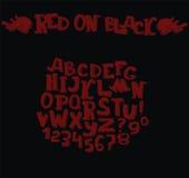 Alfabeto scuro alla moda in rosso scuro su fondo nero 3d disegnato a mano segna la sequenza con lettere da A alla Z Gruppo di car Illustrazione di Stock