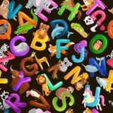 Alfabeto senza cuciture degli animali del modello per istruzione di ABC dei bambini in scuola materna Fotografie Stock