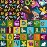 Alfabeto senza cuciture degli animali del modello per istruzione di ABC dei bambini in scuola materna Immagini Stock