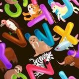 Alfabeto senza cuciture degli animali del modello per istruzione di ABC dei bambini in scuola materna royalty illustrazione gratis
