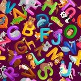 Alfabeto senza cuciture degli animali del modello per istruzione di ABC dei bambini in scuola materna illustrazione di stock
