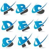 Alfabeto Set1 de Swoosh Foto de archivo libre de regalías