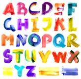 Alfabeto sujo da aguarela Imagens de Stock