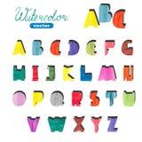 Alfabeto sveglio dell'acquerello Lettere disegnate a mano variopinte Fotografia Stock Libera da Diritti