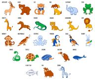 Alfabeto sveglio dello zoo con gli animali del fumetto da A al vettore di Z Immagini Stock