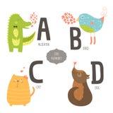 Alfabeto sveglio dello zoo di vettore Fotografia Stock