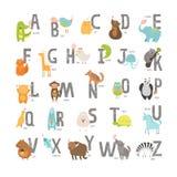 Alfabeto sveglio dello zoo di vettore Fotografie Stock Libere da Diritti